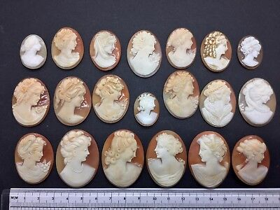 20 Antique Victorian Hand Carved Italian Shell Cameo Bracelet Brooch Ring Repair