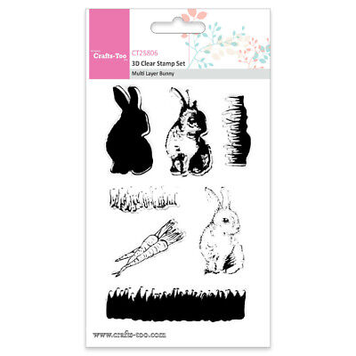 Layered clear-stamps 3D-Stempel Rabbits Hase Bunny Gras Möhre Ostern Crafts-Too