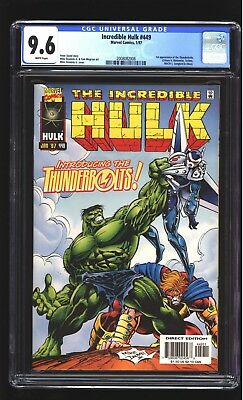 Incredible Hulk 449 CGC 9.6 NM+ 1st Thunderbolts Mike Deodato cover Marvel 1997