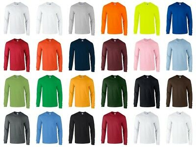 Gildan Heavy Cotton Long Sleeve T Shirt Mens Blank Casual Plain FREE SHIP