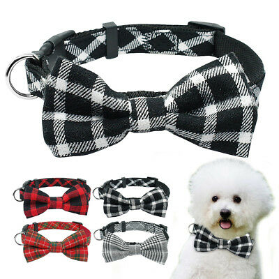 Pet Dog Bow Tie Collar for Small Medium Dog Cat Fabric Plaid Necklace Puppy S M