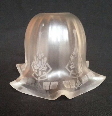Antique Art Nouveau Etched Glass Electric Lamp Shade with Frilled Rim