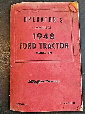 1948 Illustrated Brochure Ford Tractor Operator's Manual Model 8N