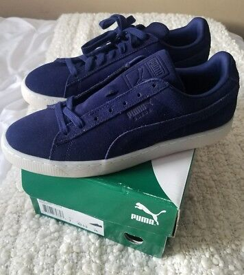 NEW PUMA 360850 01 Suede Classic Navy Blue Men s Casual Shoes Size ... 5cf094a89