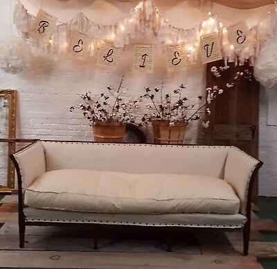 Vintage 1920 Deconstructed Couch Linen Cushion Farmhouse Style Burlap Furniture
