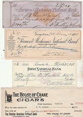 FOUR (4) OLD CHECKS   3 DIFFERENT STATES  187- to 1922