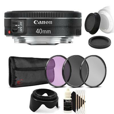 Canon EF 40mm f/2.8 STM Lens with Accessory Bundle for Canon DSLR Cameras