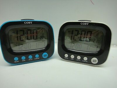 x2 Retro Alarm Clock Coby CBC-52 WHITE  and BLUE  PRE OWNED
