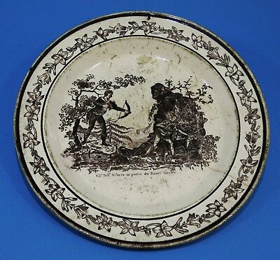 ASSIETTE ronde en terre de pipe d'Aumale vers 1815 - 1824 Guillaume TELL