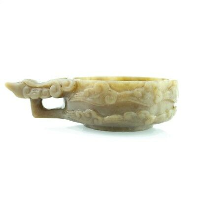 Antique Vintage Hand Carved Natural Jade Wine Cup Good Luck Chinese Collection