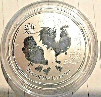 2017 1/2 oz .999 PURE SUILVER COIN, AUSTRALIAN LUNAR SERIES YEAR OF THE ROOSTER