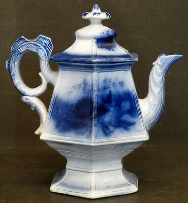 LARGE Antique FLOW BLUE Floral FLORA Pattern COFFEE TEA POT by THOMAS WALKER