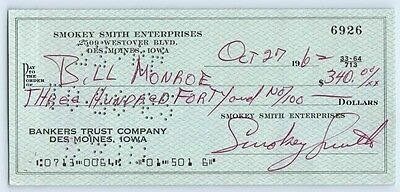BILL MONROE Signed AUTOGRAPH 1960's Bank Check GRAND OLE OPRY Bluegrass Music