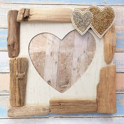 Shabby Driftwood Chic Heart Shaped Picture Standing Photo Frame