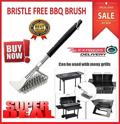"""18 """" BBQ Grill Brush Free Bristle Barbecue Stainless Steel Cleaning Scraper Rust"""