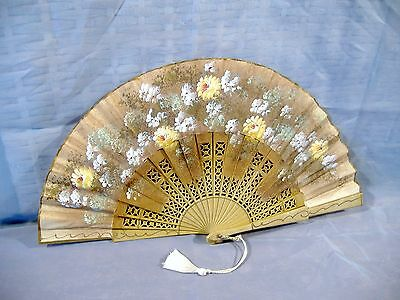 Hand Painted Linen Fan Flowers Antique Vintage Floral Pierced Celluloid