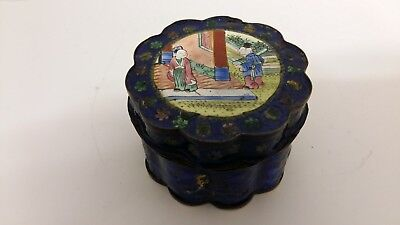 Antique Chinese Hand Painted Enameled Lidded Pot