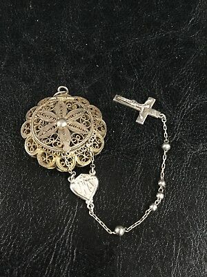 Antique 800 & Sterling SILVER Beads FILIGREE BEADS ROSARY & BOX CASE