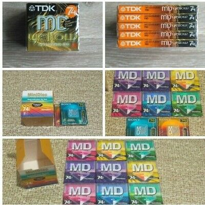 Lot Of 16 Minidisc 74 Minutes Recordable  ( 9X Carrefour / 2X Sony / 5X Tdk )