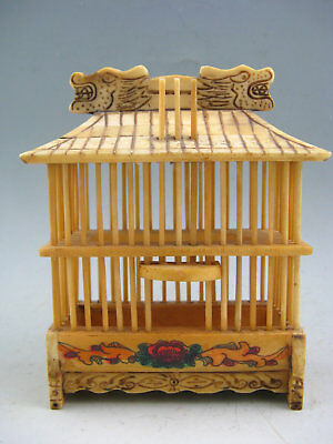 Antique Chinese Old Cattle Bone Hand-Carved Dragon Painted Big Cricket Cage