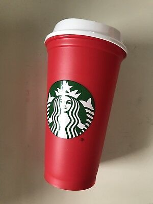 Starbucks 2018 Limited Edition Red Holiday Reusable plastic cup tumbler 16oz NEW