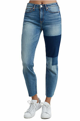c200eeb10 True Religion Women s Stove Pipe Patched Jeans Size 25 NWT Pebbled Indigo  Wash