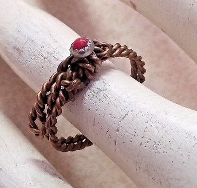 Vintage Womens Ring Solataire Red Bead Gold Plated Rope Delicate Size 7.5 Coral