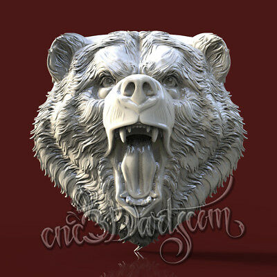 3D Model STL CNC Router Artcam Aspire Angry Bear Head Trophies Cut3D Vcarve