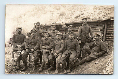Antique WW1 GERMAN Real Photo RPPC Postcard SOLDIERS in Sod Roof BUNKER CAVE