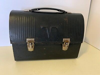 """Vintage Thermos """"V"""" Black Dome Top Metal Lunch Box Work Pail Bucket SO NICE!"""
