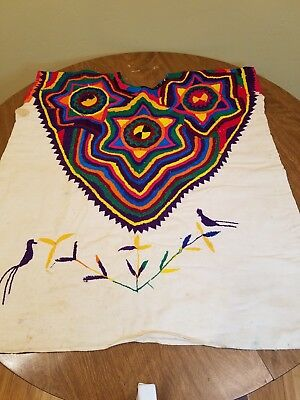 Vintage Huipil Colorful Hand Embroidered