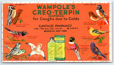 Vintage WAMPOLE'S CREO-TERPIN Advertising INK BLOTTER Brooklyn CANTALES PHARMACY