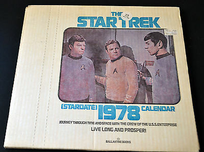 NIB Vintage 1978 The Star Trek Stardate Calendar Unopened In Original Box NIB