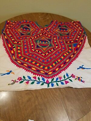 Vintage Colorful Hand Embroidered Huipil