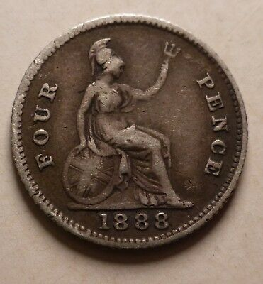 Queen Victoria Silver 1888 Groat 4 Four Pence Coin