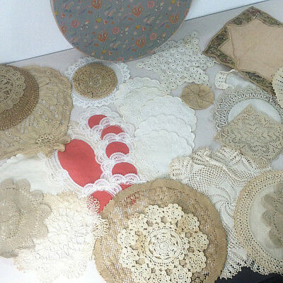 Vtg LOT OF 36 ASSORTED CROCHETED DOILIES White & Natural Wedding Tea Party Candy
