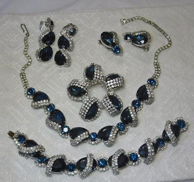 Hobe Signed Parure Sapphiret RARE! Vintage Costume Jewelry Necklace Earrings