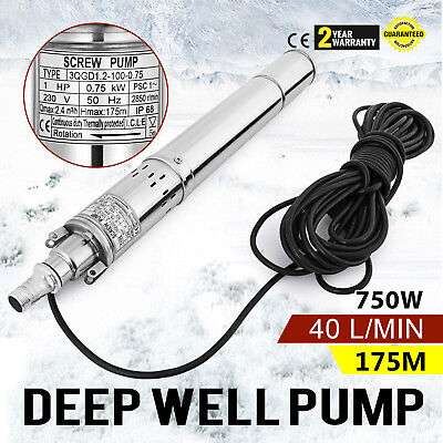 750w  Borehole Deep Well Submersible Water Pump 175M Screw Pump Stainless steel