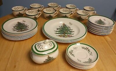 Lot of (38) Spode Christmas Tree Plates, Teacups and Sugar Bowl Made in England