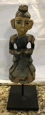 Antique Asian Carved Wooden Painted Religious Figure Very Early Mounted Rare