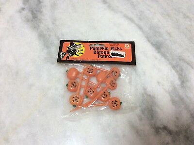 Vintage Halloween Cake Decorations Picks Amscan Pumpkins Set of 10