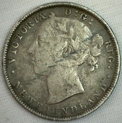 1890 Canada Silver NEWFOUNDLAND 20 Cents Fine 20c Coin