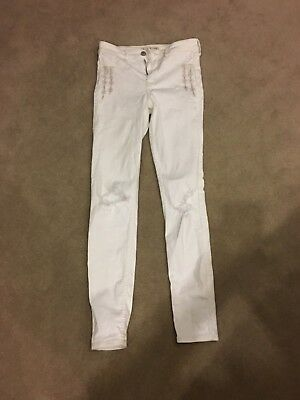 HOLLISTER WHITE RIPPED JEANS 1R W25 L 31 Excellent Condition
