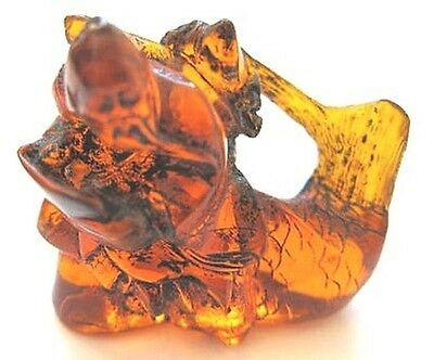 Vintage Japanese amber netsuke-Sage with Scroll Rides Big Whale Fish,signed