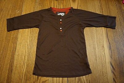 Girls Dots & Dreams 3/4 Sleeve Lightweight Brown Shirt Large 14 New With Tags