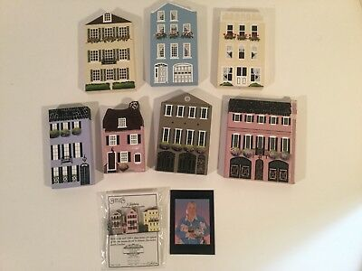 Shelia House Collectibles Signed and Dated Lot of 7+2 Rainbow Row Charleston SC