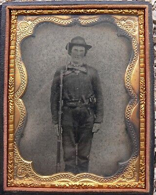 QUARTER PLATE AMBROTYPE TRIPLE ARMED CONFEDERATE SOLDIER - Free Shipping