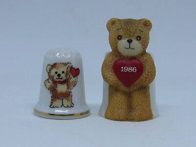 Lot Of 2 Lucy & Me Valentine Bear Thimbles 1979 1985