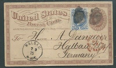 Usa 1875 Uprated Postal Stationery To Germany Halbau Nice!