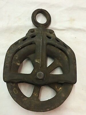 Antique Cast Iron OK 30 Hay Trolley Carrier Drop Pulley Rustic Farm Decor